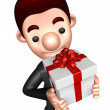 3D Business man Mascot holding a big gift box. Work and Job Char — Stock Photo #34210067