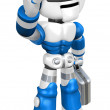Stock Photo: Blue robot right hand guides and left hand is holding a