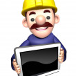 The 3D Construction site man. shows the monitor. Work and Job Ch — Stock Photo