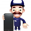 3D Service man Mascot promote the mobile phone.  Work and Job Ch — Stock Photo