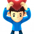 Boys Mascot holding hearts. 3D Family and Children Character — Stock Photo #34210335