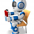 Blue robot character is sitting and reading a book. Create 3D Hu — 图库照片