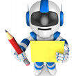 Blue robot Grasp pencil and board. Create 3D Humanoid Robot Se — Stock Photo #34210633