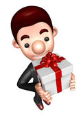 3D Business man Mascot holding a big gift box. Work and Job Char — Stock Photo