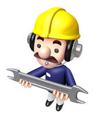 Construction site man holding a spanner. Work and Job Character — Stock Photo