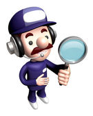 3D Service man Mascot mascot examine a with a magnifying glass. — Stock Photo
