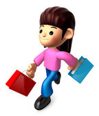 Walking down The Mother carrying a Shopping Bag. 3D Family and C — Stock Photo