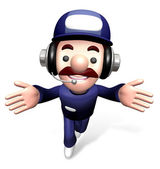 3D Service man Mascot the direction of pointing with both hands. — Stock Photo