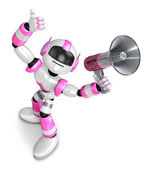 The pink robot in to promote Sold as a loudspeaker. Create 3D H — ストック写真