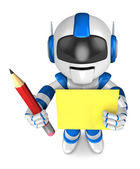Blue robot Grasp a pencil and board. Create 3D Humanoid Robot Se — Stock Photo