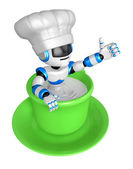 A big cup in the best blue chef robot gestures. Create 3D Humano — Stock Photo