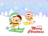 The couple is skiing. Christmas Card Design Series. — Stock vektor