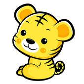 The Left sit Tiger Mascot. The East Twelve zodiac Character Desi — Stock Vector