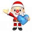 The Santa Mascot is holding a big Heart. 3D Christmas Character  — Stock Photo