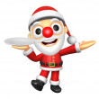 Stock Photo: 3D Santmascot right hand guides and left hand is holdi