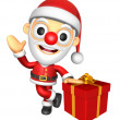 3D Santa mascot the right hand guides and the left hand is holdi — Photo