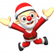 3D Santa character to be powerful and jumping. 3D Christmas Char — Foto de Stock