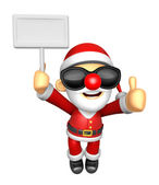 Wear sunglasses 3D Santa Mascot the right hand best gesture and — Stock Photo
