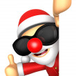 Wear sunglasses 3D SantMascot right hand best gesture and — Stock Photo #36650111