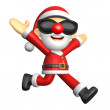 3D Santa character on Running to be strong. 3D Christmas Charact — Стоковая фотография