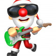 3D Santa has to be playing the Green electric guitar. 3D Christm — Stock Photo