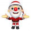 3D Santa mascot has been welcomed with both hands. 3D Christmas — Stock Photo