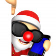 3D Santa Mascot hand is holding a Smart Phone and Big advert boa — Stock Photo