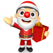3D Santa mascot the left hand guides and the right hand is holdi — Photo