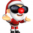 Wear sunglasses 3D Santa mascot has been welcomed with both hand — Stock Photo #36650557