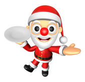 3D Santa mascot the right hand guides and the left hand is holdi — Stock Photo