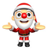 3D Santa mascot has been welcomed with both hands. 3D Christmas — Foto Stock