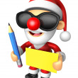 Wear sunglasses 3D Santa Mascot hand is holding a Yellow paper a — Stock Photo