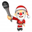 3D Santa character is holding a microphone. 3D Christmas Charact — Stock Photo