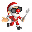 Stockfoto: Wear sunglasses 3D SantMascot left hand guides and right h