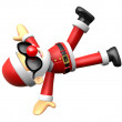 Wear sunglasses 3D Santa mascot playing breakdance. 3D Christmas — Stock Photo