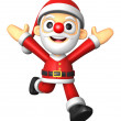3D Santa character on powerfull Running. 3D Christmas Character  — Stock Photo