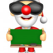 Wear sunglasses 3D Santa Mascot holding a big board with both Gr — Stock Photo