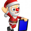 3D Santa mascot the left hand guides and the right hand is holdi — Stock Photo
