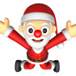 3D Santa character unclasp both hands jumping. 3D Christmas Cha — Stock Photo #36771837