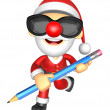 Wear sunglasses 3D Santa Mascot holding a big board with both Pe — Stock Photo