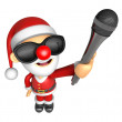 Wear sunglasses 3D Santa character is holding a microphone. 3D C — Stock Photo #36771927