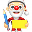 3D Santa Mascot hand is holding a Yellow paper and Pencil. 3D Ch — Stock Photo