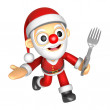Stockfoto: 3D SantMascot left hand guides and right hand is holding a