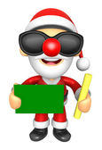 Wear sunglasses 3D Santa Mascot hand is holding a Chalk and Chal — Stock Photo