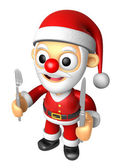 3D Santa Mascot hand is holding a Fork and Knife. 3D Christmas C — Stock Photo