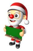 3D Santa Mascot holding a big board with both Green chalkboard. — Stock Photo