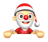 3D Santa Mascot holding a big board with both hands. 3D Christma — Stockfoto
