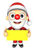 3D Santa Mascot holding a big board with both Yellow paper. 3D C — Foto de Stock