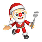 3D Santa Mascot the left hand guides and right hand is holding a — ストック写真