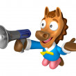 Stock Photo: 3D Horse Mascot right hand guides and left hand is holding a